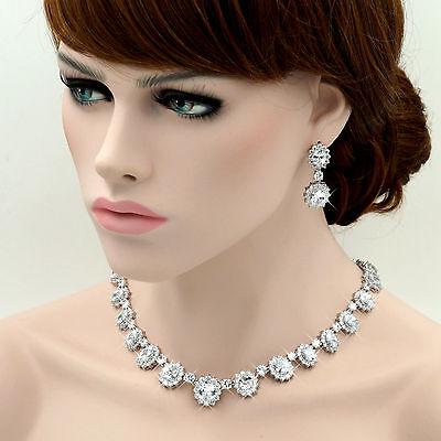 18K Platinum Plated Clear Zirconia CZ Necklace Earrings Wedding Jewelry Set 6703 ()