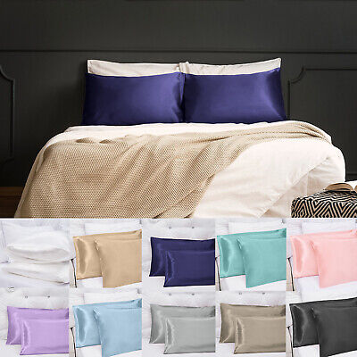 Soft Silky Satin Pillow Cases Great For Hair and Skin With Envelope Closure US (Envelope Pillowcases)