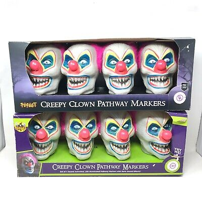 Spirit Lot of 2 Creepy Clown Pathway Markers, Box Of 4 Light Up Spooky Noises
