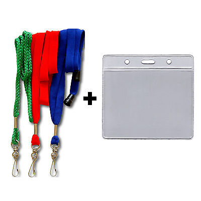 """36"""" NECK LANYARD WITH CLEAR VINYL ID CARD HOLDER SET"""