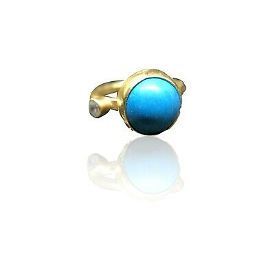 Handmade Hammered Band Round Turquoise Ring 24K Gold Over 925K Sterling Silver