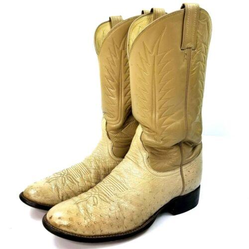 Vintage, Tony, Lama, Mens, El, Paso, Full, Quill, Ostrich, Boots, Sz, 12, Ivory, Rare, Cowboy,