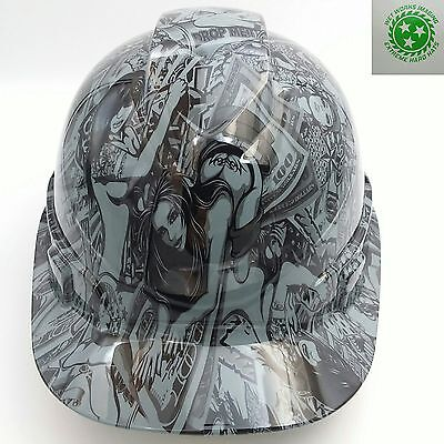 Hard Hat Custom Hydro Dipped Hustler Girls Steel Grey Bullard Osha Approved