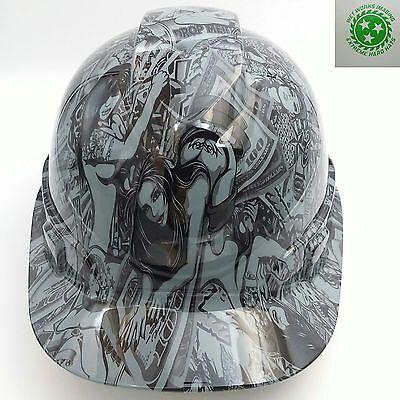 Hard Hat Custom Hydro Dipped Hustler Girls Steel Grey Bullard Osha Approved