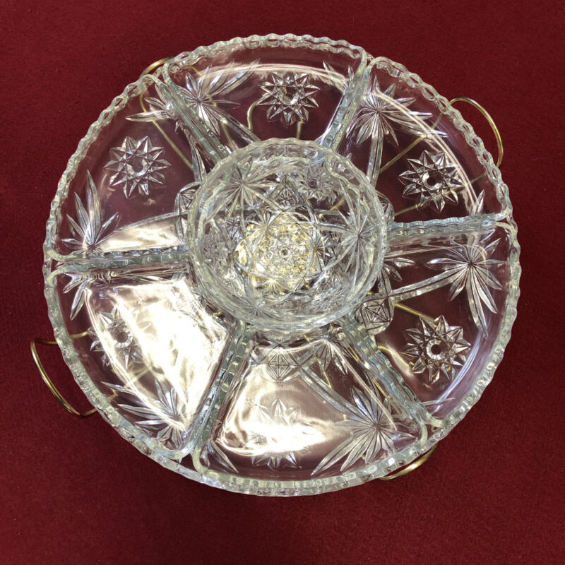 Anchor Hocking Lazy Susan Cut Glass Relish Party Vegetable & Dip Spin Tray 9 Pcs