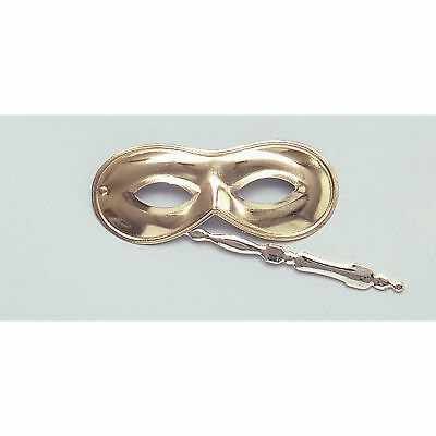 Domino Masquerade (MASQUERADE GOLD DOMINO EYE MASK ON STICK Unisex Fancy Dress Costume)