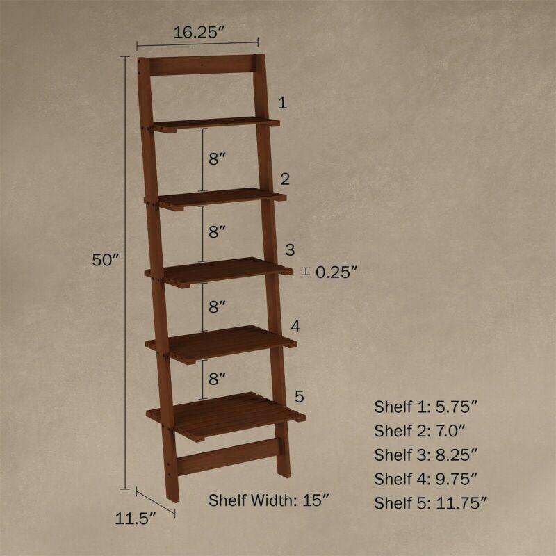 Five Tier Ladder Style Wooden Storage Bookshelf Display Brown Walnut Finish