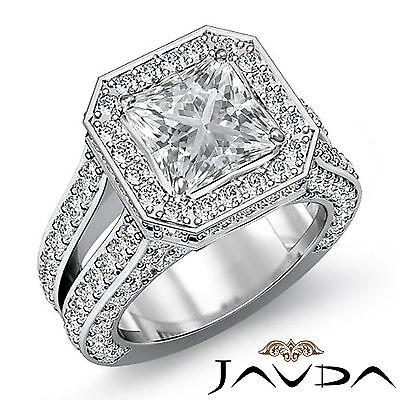 Circa Halo Split Shank Pave Princess Diamond Engagement Ring GIA H VS2 3.52 Ct