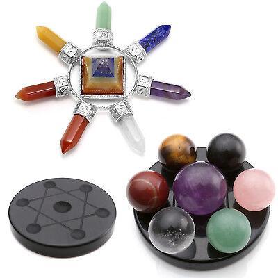 Ball Chakra Stone Seven-Star Array+ Pyramid Energy Generator Reiki Healing Decor