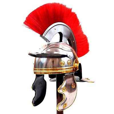 Medieval Armor Helmet Roman Centurion with Red Plume Crest, One Size, Fits Most