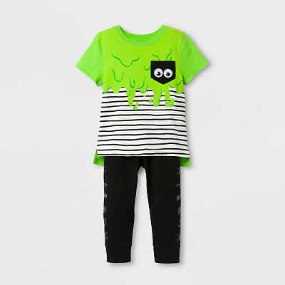 Toddler Boys Halloween Striped Green Slime Monster Googly Eyes Shirt/Pants Set