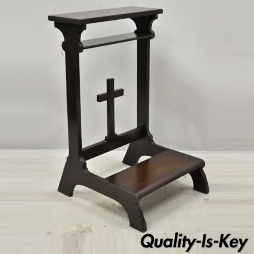 Vintage Solid Carved Wood Prayer Bench Kneeling Kneeler with Carved Cross