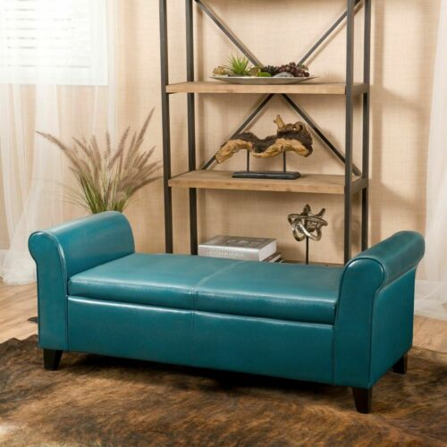 Danbury Contemporary Upholstered Storage Ottoman Bench with Rolled Arms Furniture
