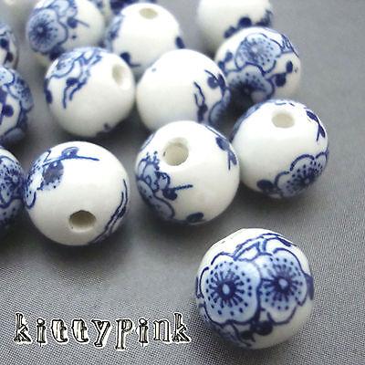 20 Handmade Round Blue and White Porcelain Ceramic Beads 10mm Japanese