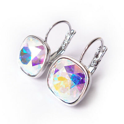Aurora Cushion (Aurora Borealis AB Cushion Cut Crystal Drop Earrings made w/12mm Swarovski )