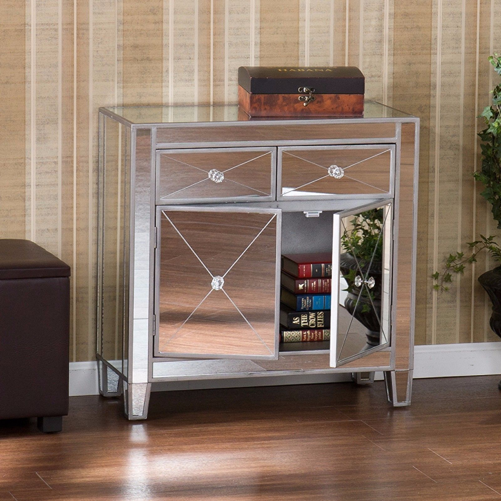 Mirrored Nightstand   Mirrored Storage Cabinet Drawers Dresser Chest Table  Bedroom Nightstand 1 Or 2