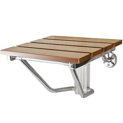 BCP Wall Mounted Folding Hardwood Shower Seat w/ Steel Frame Folding Shower Seat