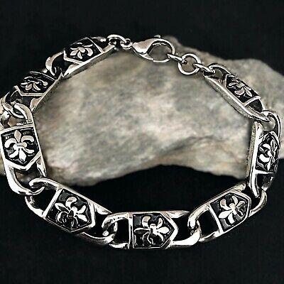 Heren Edelstahl Armband Armkette Kette Männer Unisex Damen Fleur de lis Silber  tweedehands  verschepen naar Netherlands