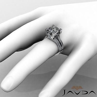 Trellis Style Split Shank Round Cut Diamond Engagement Pave Ring GIA I VS2 2.5Ct 3