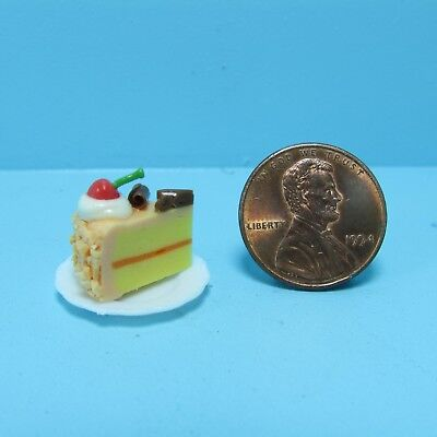 Dollhouse Miniature Slice of Cake Orange Frosting with Cherry & Chocolate on Top