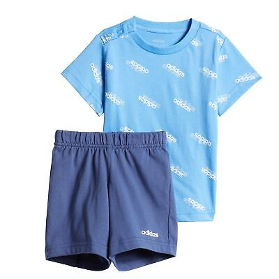 adidas Favourites Infant Kids Boys T-Shirt & Short Summer Set Blue/White