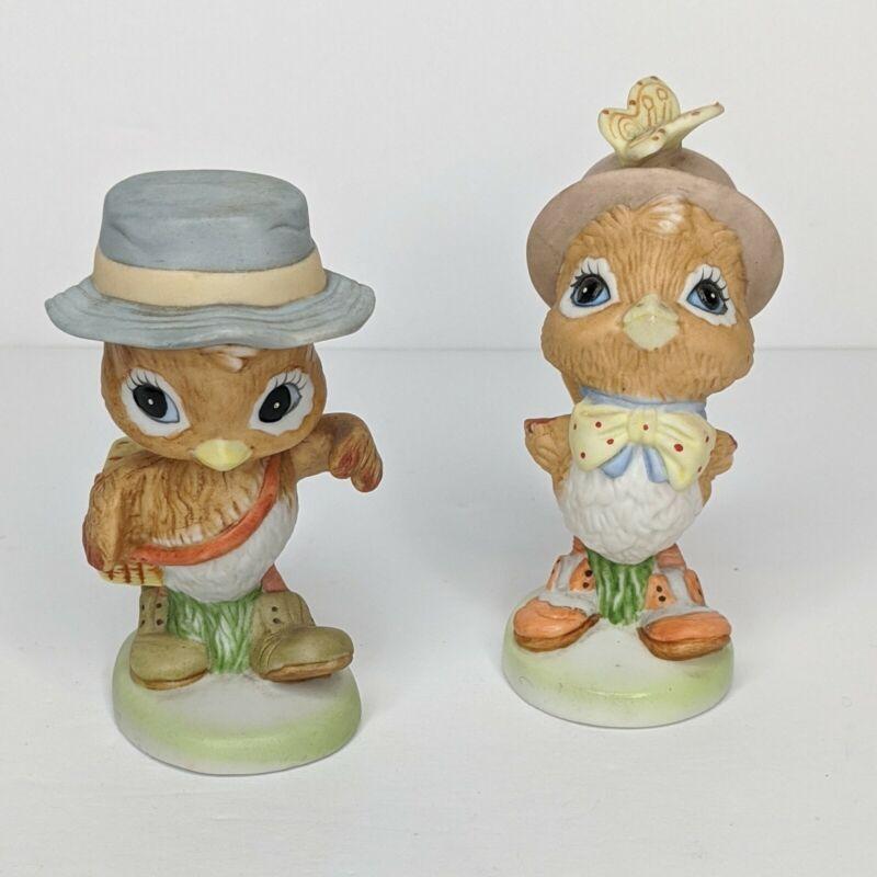 Vintage Hallmark Spencer Sparrow Esq. Figurines Bisque Porcelain Birds  SET OF 2