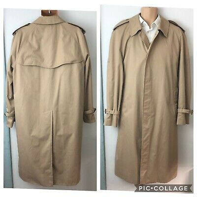 VINTAGE Burberry Trench Coat Mens Large Beige Tan Mac Mackintosh Rain Coat