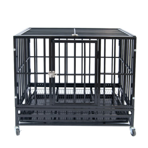 """37"""" Heavy Duty Pet Dog Cage Strong Metal Crate Kennel Playpen w/ Wheels&Tray"""