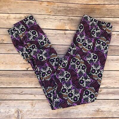Purple Sugar Skull Day of the Dead Women's Leggings  PS Plus Size TC 12-20