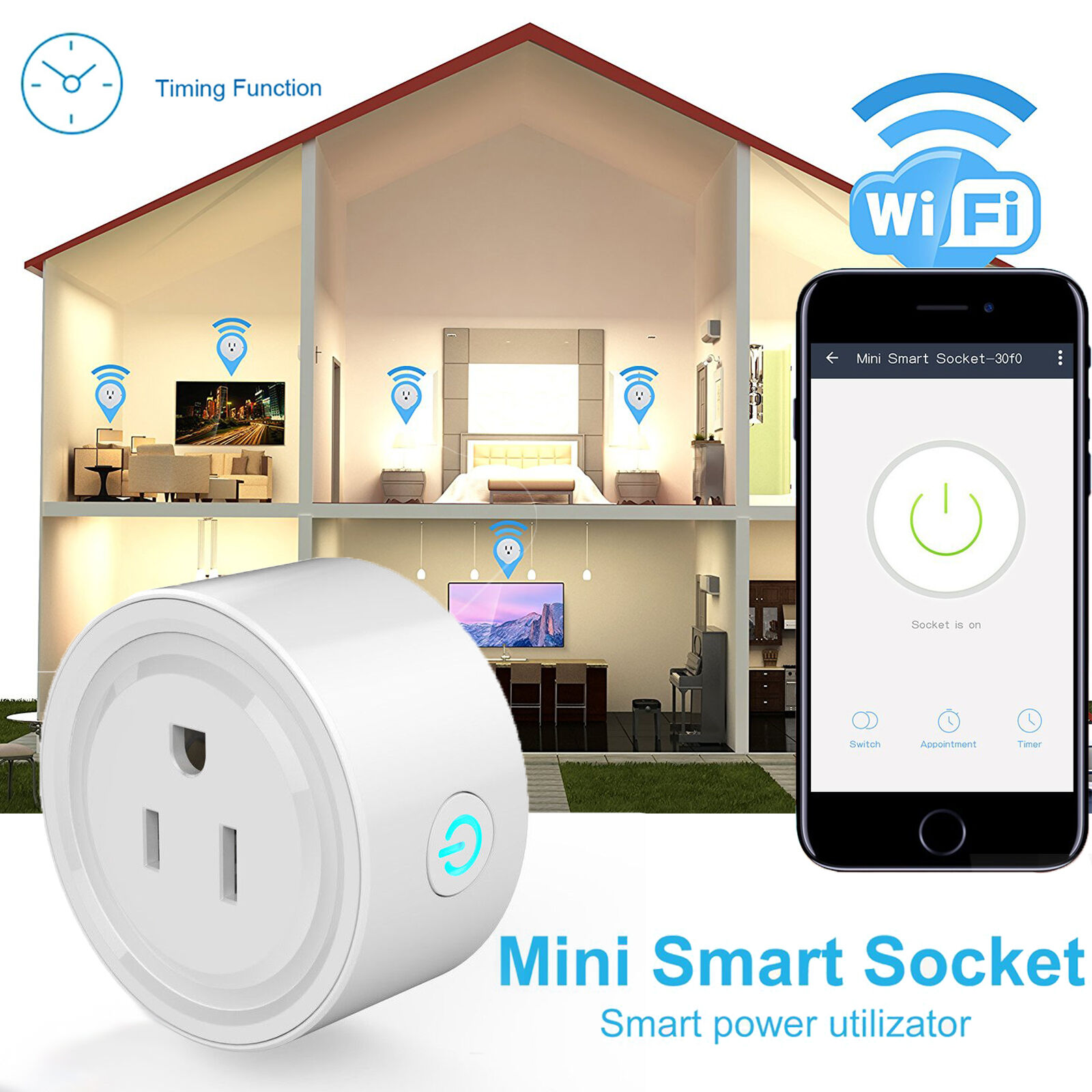 Safe WiFi Smart Plug Phone Remote Control Time Switch Power Socket Voice Control