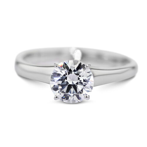 0.76 Carat Round Cut F - VS2 Solitaire Diamond GIA Engagement Ring sizeable