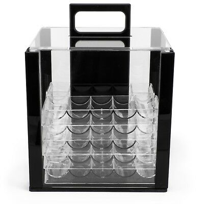 NEW 1000 Ct Empty Acrylic Carrier Poker Chips Case with 10 Racks