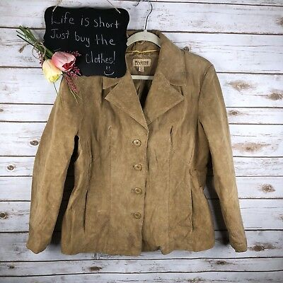 Wilson's Leather Womens Jacket Size L Camel Button Up Long Sleeve***