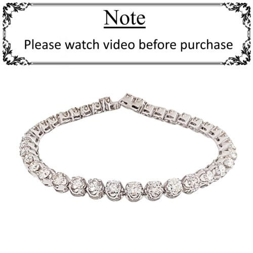 7.50 ct round cut WHITE gold 14k diamond tennis bracelet F VS1 NOT ENHANCED