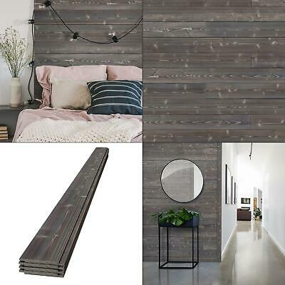 1 in. x 6 in. x 8 ft. ash gray charred wood pine shiplap board (4-pack)