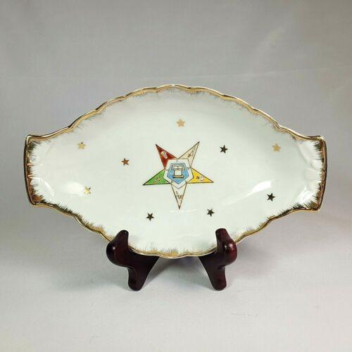 Vintage Masonic Order Eastern Star Porcelain Candy Trinket Dish HB Mackrides USA