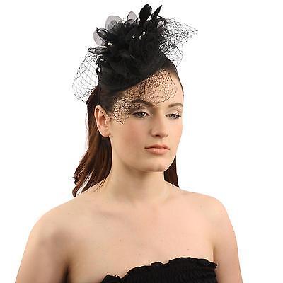 Elegant Lace Feather Jewel Headband Fascinator Millinery Cocktail Mini Hat Black