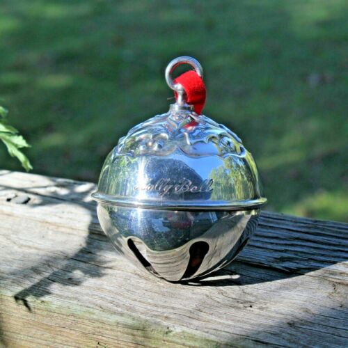 Reed & Barton Silverplate Holly Sleigh Bell Ornament Christmas 1986 Silver Plate