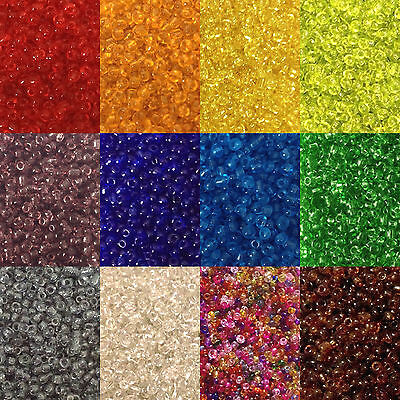 50g glass seed beads - Transparent, size 11/0 (approx 2mm) - choice of colours