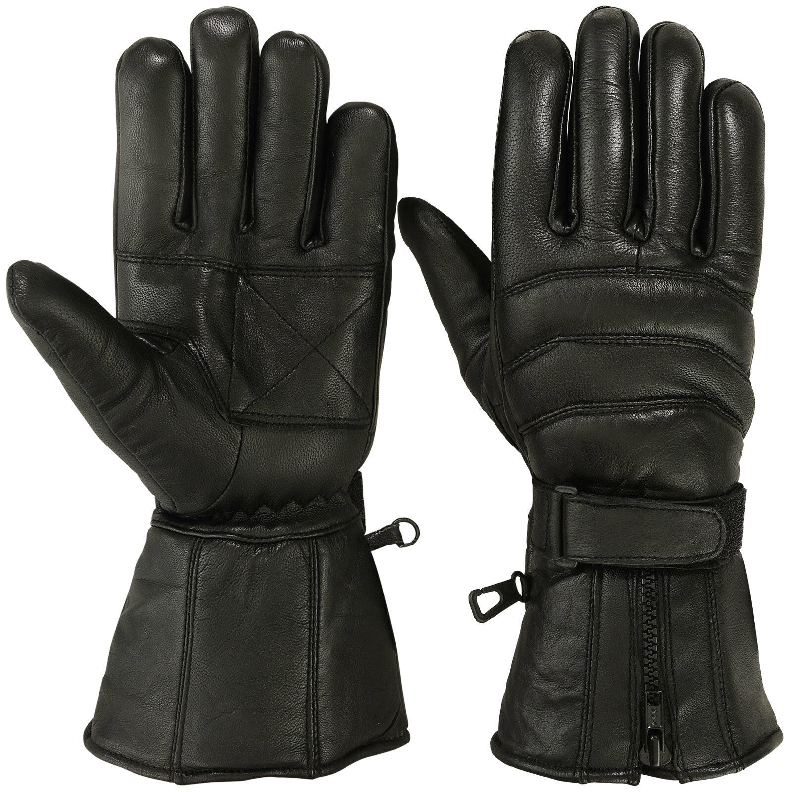 Mens Genuine Leather Motorcycle Gloves Motorbike Riding ...