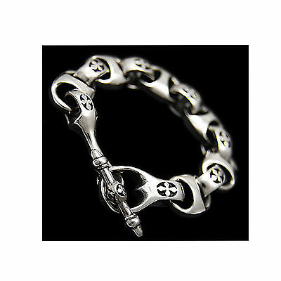 T LOCK GRAVEYARD CROSS HEAVY 94 GRAMS 925 STERLING SILVER ROCKER BRACELET ec-b12