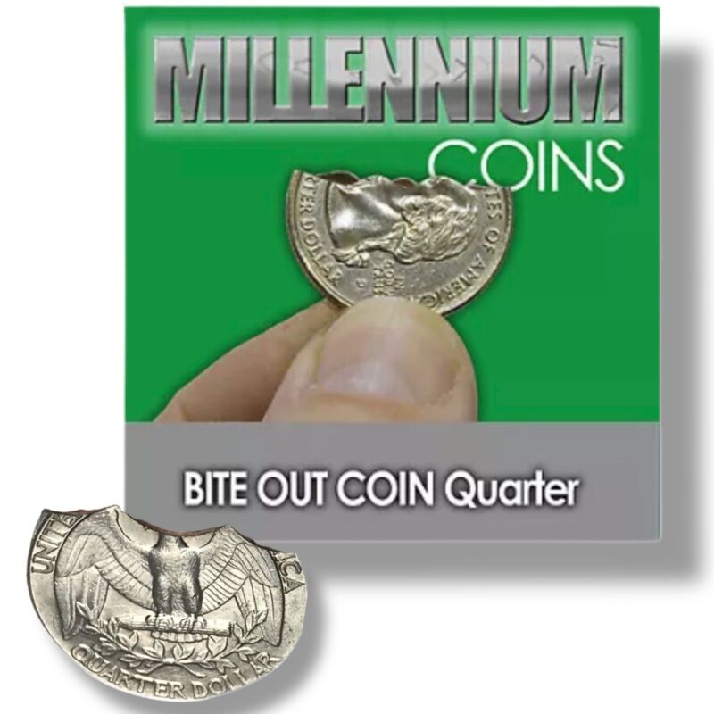 Bite Out Quarter Trick + 25 Bands Street Magic Folding Coin Blaine New SEE VIDEO
