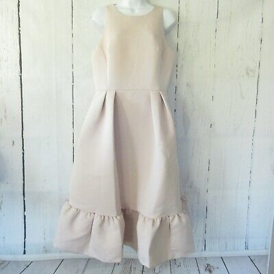 $428 New Kate Spade Dress 10 Pink Fit Flare Structured Ruffle Midi Cut Out