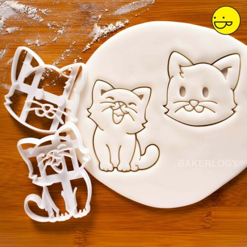 Set of 2 Cat cookie cutters cute happy cats kitty birthday cake treat biscuit
