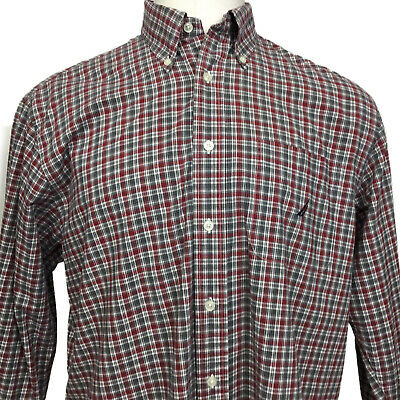 Mens Nautica Shirt Long Sleeve Large L Plaid Red Black Grey