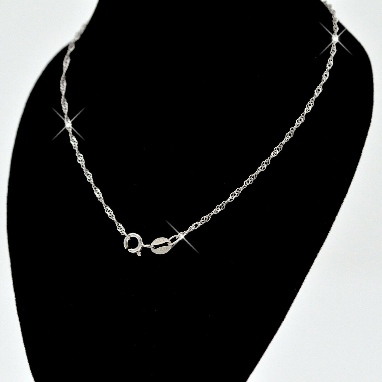Jewellery - REAL SOLID SILVER Classic 925 Sterling Silver Chain Necklace Jewelry (WaterWave)