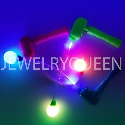 12 Light-Up Spinning Ratchets LED Ball Matracas Flashing Spinners Wands - Led Spinner Wand