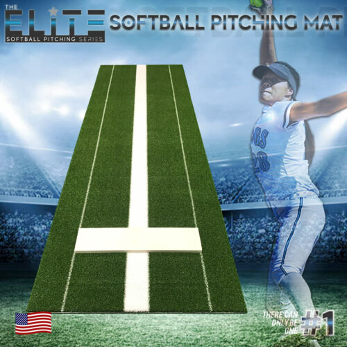 Secondary Elite Softball Pitching Mat (Green) 3x10 - without Pitching Rubber
