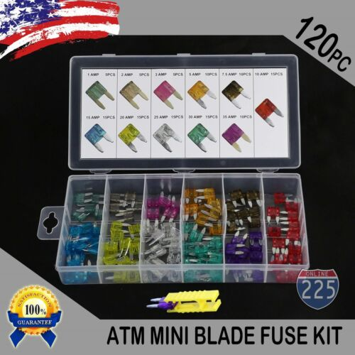 120pcs MINI Blade Fuse Assortment Car Motorcycle KIT ATM 7 Different Amperages