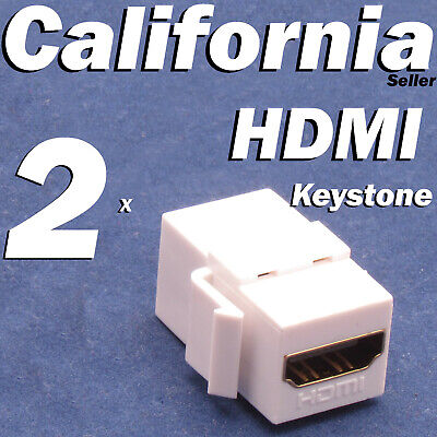2 Pack Lot HDMI Keystone Wall Plate Snap-In Jack Insert Coupler Female White (Hdmi Wall Plate Insert)